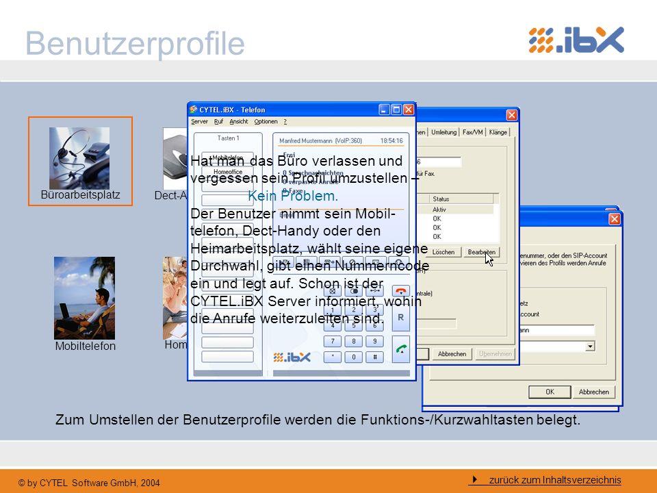 © by CYTEL Software GmbH, 2004 Benutzerprofile Büroarbeitsplatz Dect-Arbeitsplatz Mobiltelefon Homeoffice zurück zum Inhaltsverzeichnis Zum Umstellen
