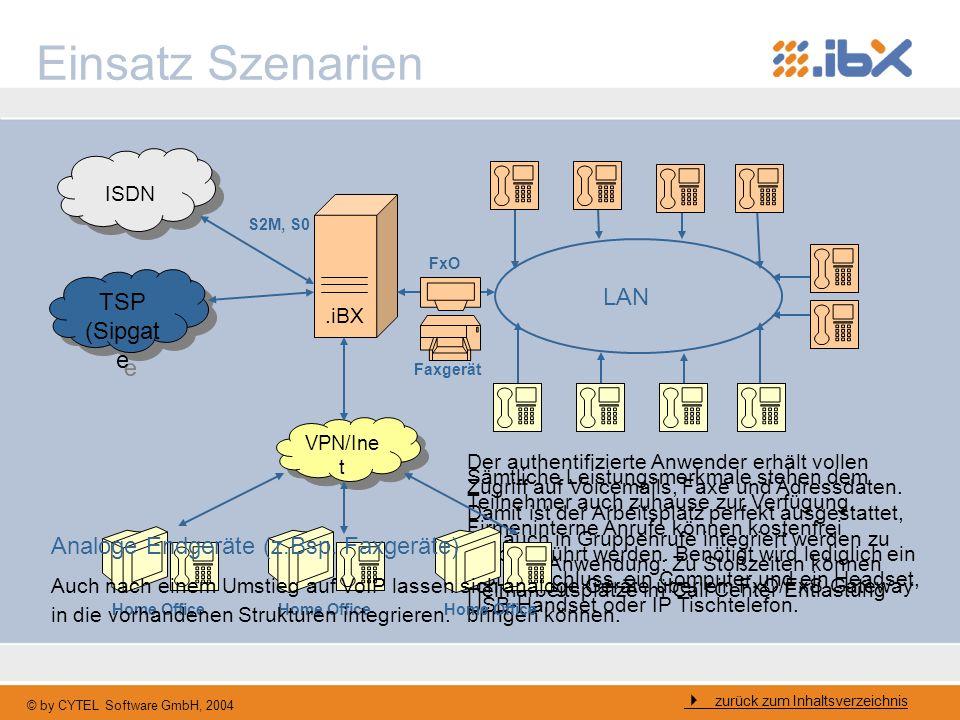 © by CYTEL Software GmbH, 2004 Sämtliche Leistungsmerkmale stehen dem Teilnehmer auch zuhause zur Verfügung. Firmeninterne Anrufe können kostenfrei du