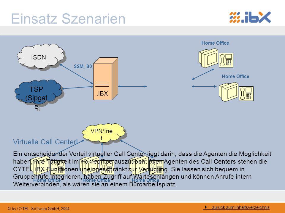 © by CYTEL Software GmbH, 2004 Einsatz Szenarien ISDN.iBX S2M, S0 TSP (Sipgat e VPN/Ine t Home Office Virtuelle Call Center! Ein entscheidender Vortei