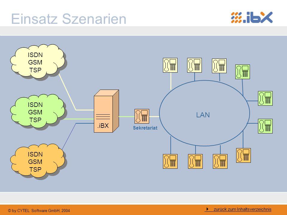 © by CYTEL Software GmbH, 2004 Einsatz Szenarien zurück zum Inhaltsverzeichnis ISDN GSM TSP ISDN GSM TSP.iBX ISDN GSM TSP ISDN GSM TSP ISDN GSM TSP IS