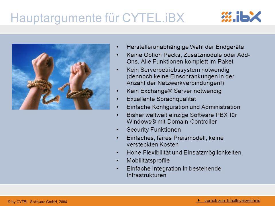© by CYTEL Software GmbH, 2004 Hauptargumente für CYTEL.iBX zurück zum Inhaltsverzeichnis Herstellerunabhängige Wahl der Endgeräte Keine Option Packs,