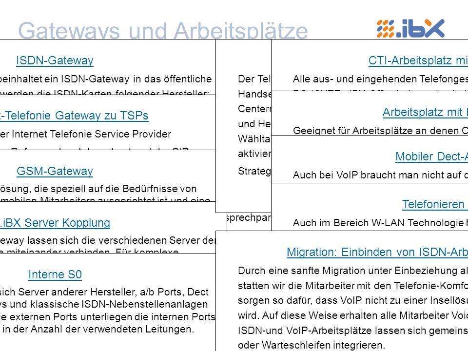 © by CYTEL Software GmbH, 2004 Gateways und Arbeitsplätze zurück zum Inhaltsverzeichnis CYTEL.iBX unterstützt seit Ende 2004 das Protokoll SIP 2.0 und