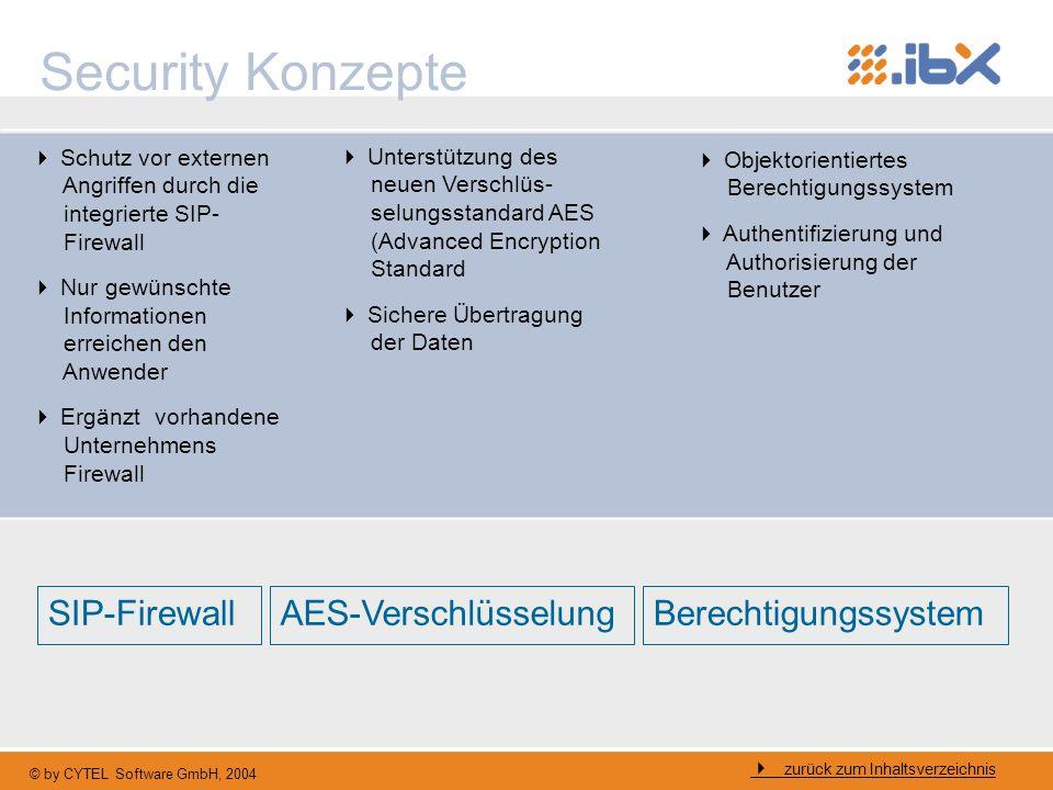 © by CYTEL Software GmbH, 2004 Security Konzepte zurück zum Inhaltsverzeichnis SIP-FirewallAES-VerschlüsselungBerechtigungssystem Schutz vor externen