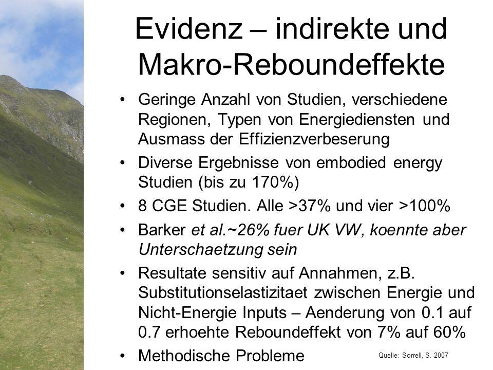 Geringe Anzahl von Studien, verschiedene Regionen, Typen von Energiediensten und Ausmass der Effizienzverbeserung Diverse Ergebnisse von embodied energy Studien (bis zu 170%) 8 CGE Studien.