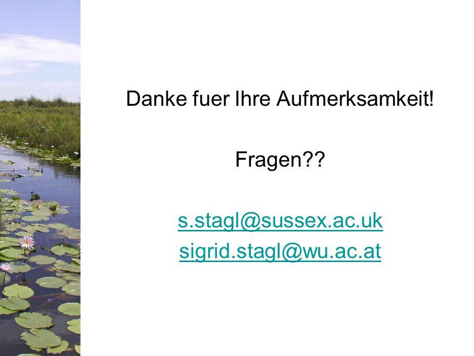 Danke fuer Ihre Aufmerksamkeit! Fragen?? s.stagl@sussex.ac.uk sigrid.stagl@wu.ac.at