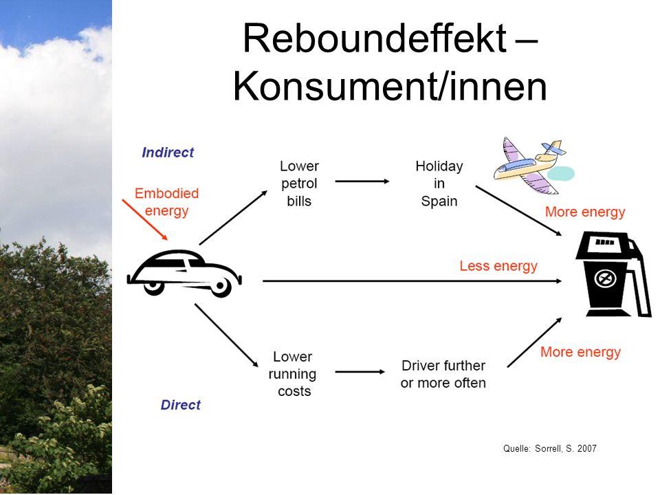 Strukturelle Veraenderung Erhöhung der Ressourceneffizienz und Reduktion des materiellen Durchsatzes – wichtige Rolle für SD ABER: ohne Strukturelle Veraenderung sind Emissions- und Ressourcenverwendungsziele nicht erreichbar.