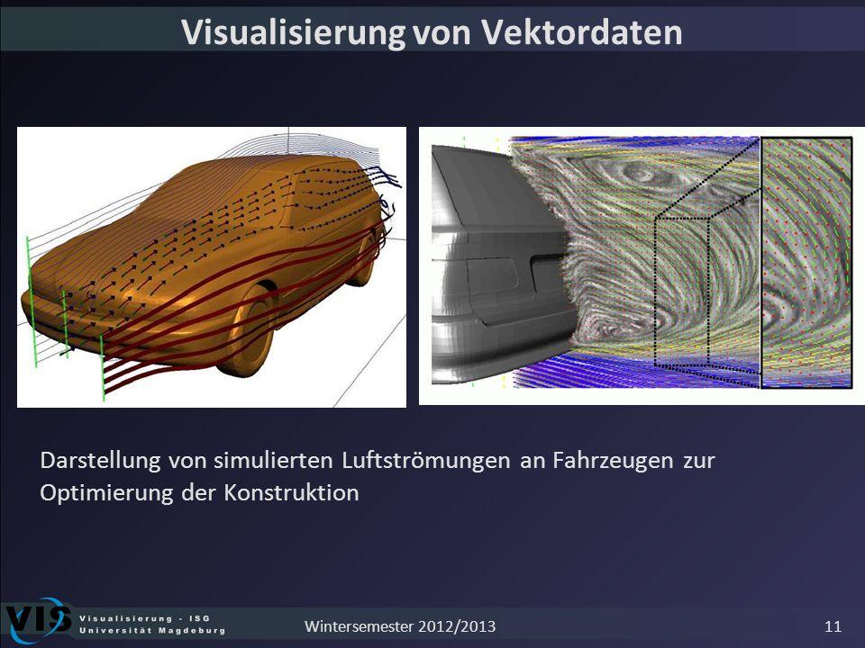 Visualisierung von Vektordaten Darstellung von simulierten Luftströmungen an Fahrzeugen zur Optimierung der Konstruktion 11Wintersemester 2012/2013