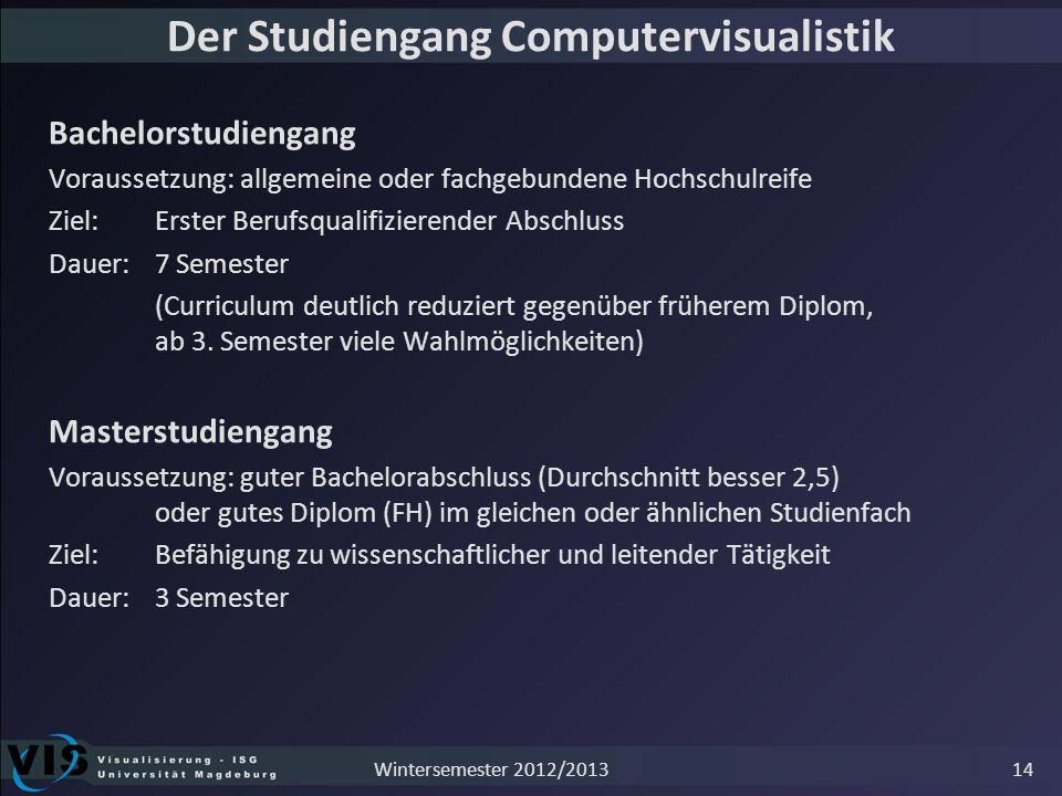 Der Studiengang Computervisualistik Bachelorstudiengang Voraussetzung: allgemeine oder fachgebundene Hochschulreife Ziel: Erster Berufsqualifizierende