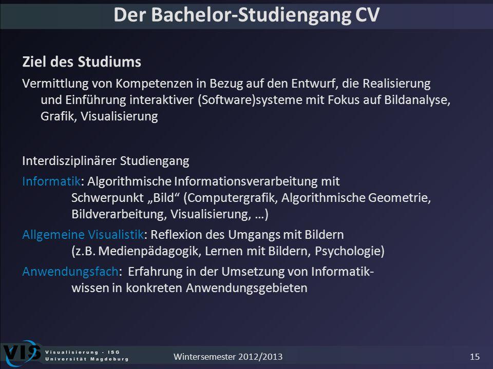 Der Bachelor-Studiengang CV Ziel des Studiums Vermittlung von Kompetenzen in Bezug auf den Entwurf, die Realisierung und Einführung interaktiver (Soft