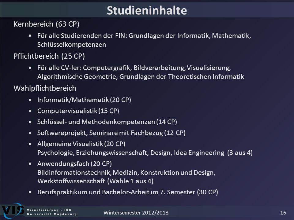Studieninhalte Kernbereich (63 CP) Für alle Studierenden der FIN: Grundlagen der Informatik, Mathematik, Schlüsselkompetenzen Pflichtbereich (25 CP) F