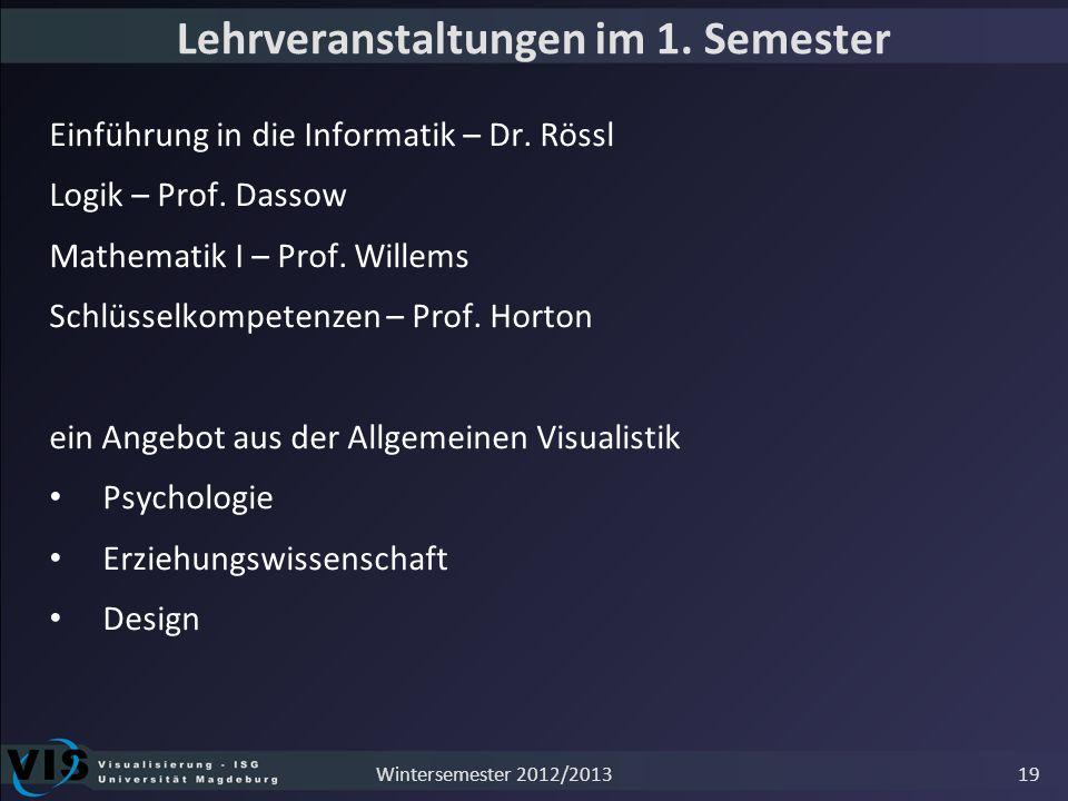 Lehrveranstaltungen im 1. Semester Einführung in die Informatik – Dr. Rössl Logik – Prof. Dassow Mathematik I – Prof. Willems Schlüsselkompetenzen – P