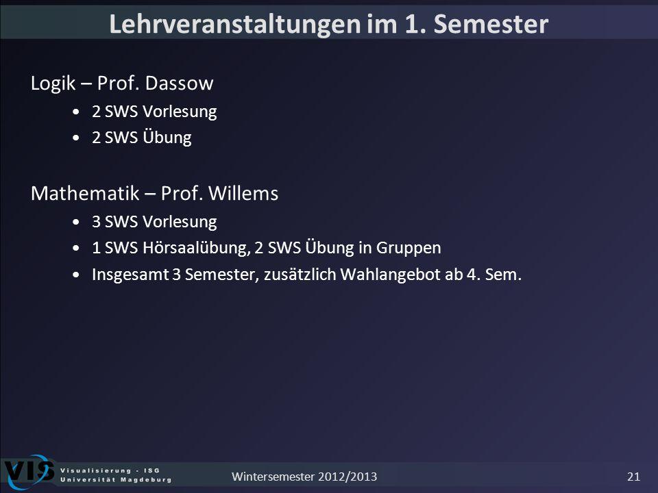 Lehrveranstaltungen im 1. Semester Logik – Prof. Dassow 2 SWS Vorlesung 2 SWS Übung Mathematik – Prof. Willems 3 SWS Vorlesung 1 SWS Hörsaalübung, 2 S