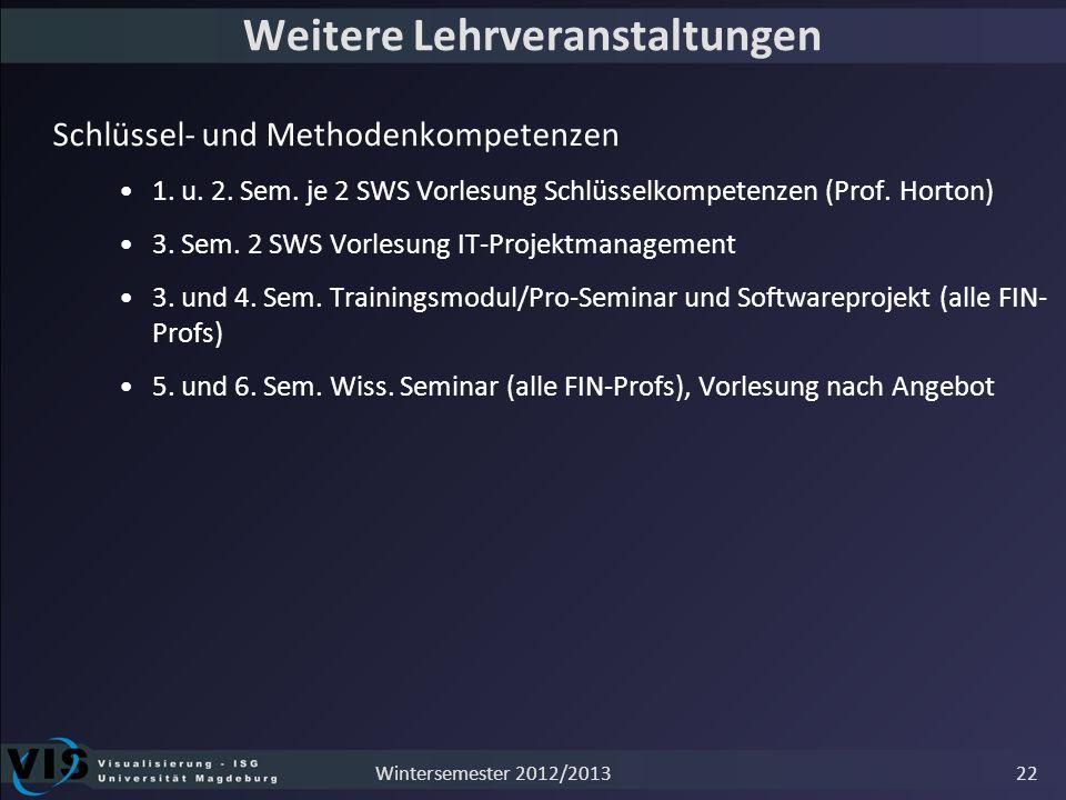 Weitere Lehrveranstaltungen Schlüssel- und Methodenkompetenzen 1. u. 2. Sem. je 2 SWS Vorlesung Schlüsselkompetenzen (Prof. Horton) 3. Sem. 2 SWS Vorl
