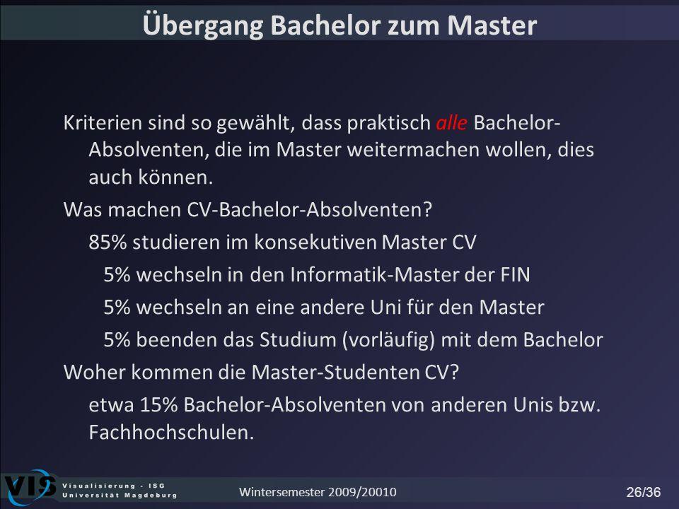 Übergang Bachelor zum Master Kriterien sind so gewählt, dass praktisch alle Bachelor- Absolventen, die im Master weitermachen wollen, dies auch können