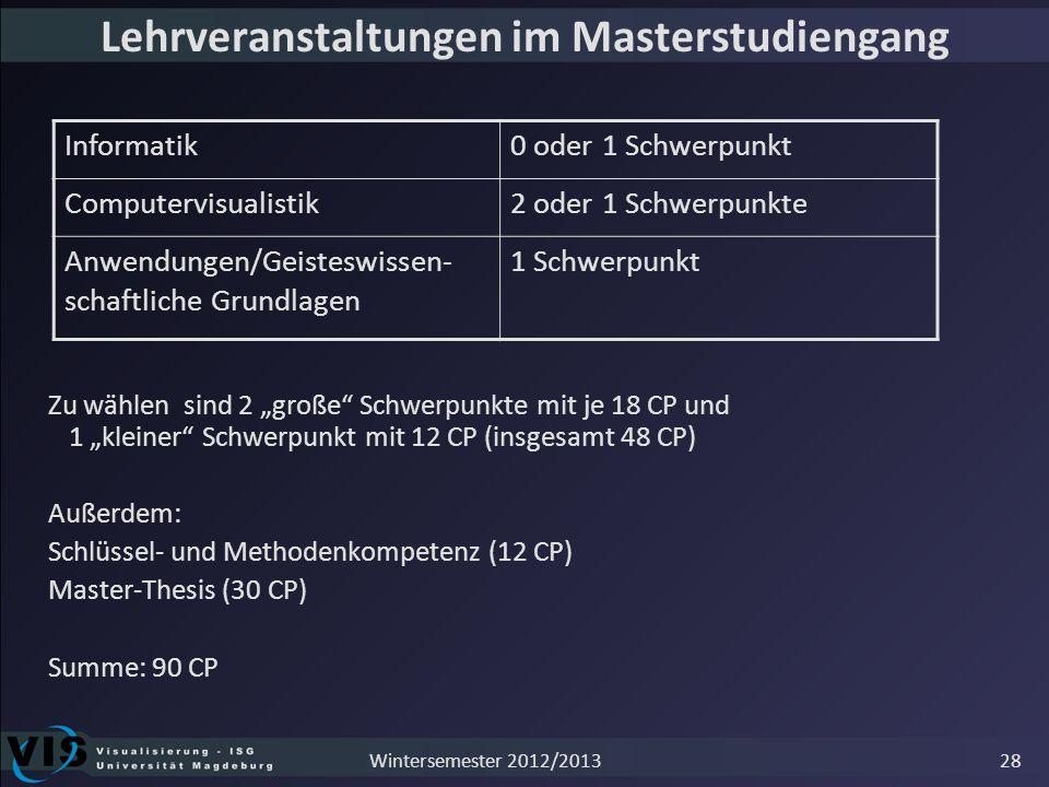 Lehrveranstaltungen im Masterstudiengang Zu wählen sind 2 große Schwerpunkte mit je 18 CP und 1 kleiner Schwerpunkt mit 12 CP (insgesamt 48 CP) Außerd