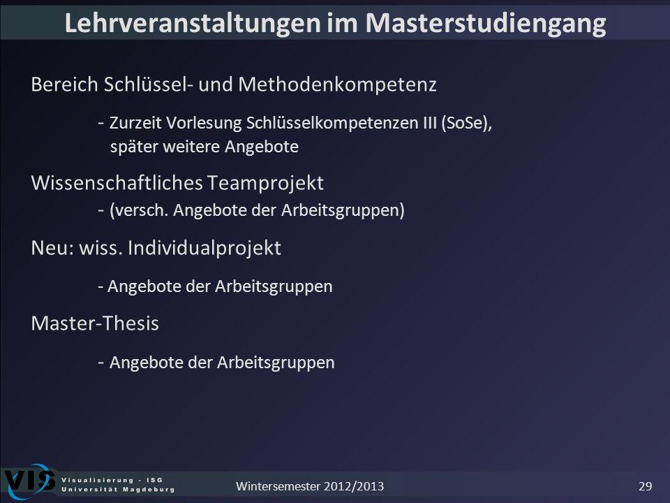 Lehrveranstaltungen im Masterstudiengang Bereich Schlüssel- und Methodenkompetenz - Zurzeit Vorlesung Schlüsselkompetenzen III (SoSe), später weitere