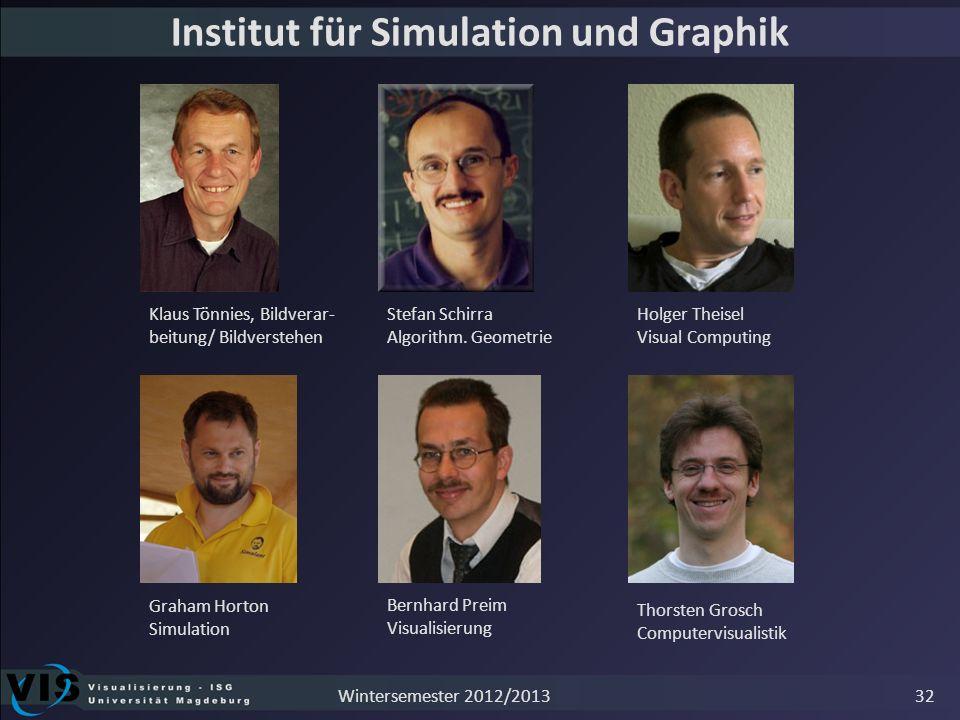 Institut für Simulation und Graphik Bernhard Preim Visualisierung Graham Horton Simulation Holger Theisel Visual Computing Klaus Tönnies, Bildverar- b