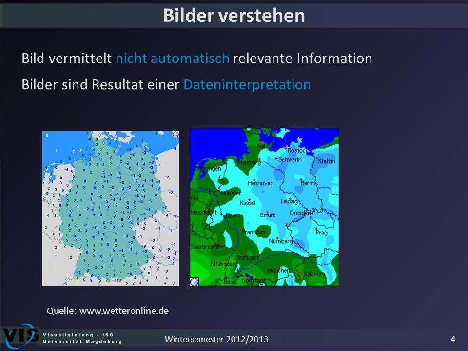 Bilder verstehen Bild vermittelt nicht automatisch relevante Information Bilder sind Resultat einer Dateninterpretation Quelle: www.wetteronline.de 4W