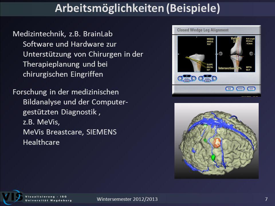 Arbeitsmöglichkeiten (Beispiele) Medizintechnik, z.B. BrainLab Software und Hardware zur Unterstützung von Chirurgen in der Therapieplanung und bei ch