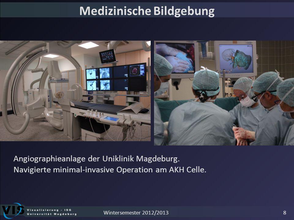 8 Medizinische Bildgebung Angiographieanlage der Uniklinik Magdeburg. Navigierte minimal-invasive Operation am AKH Celle. Wintersemester 2012/2013