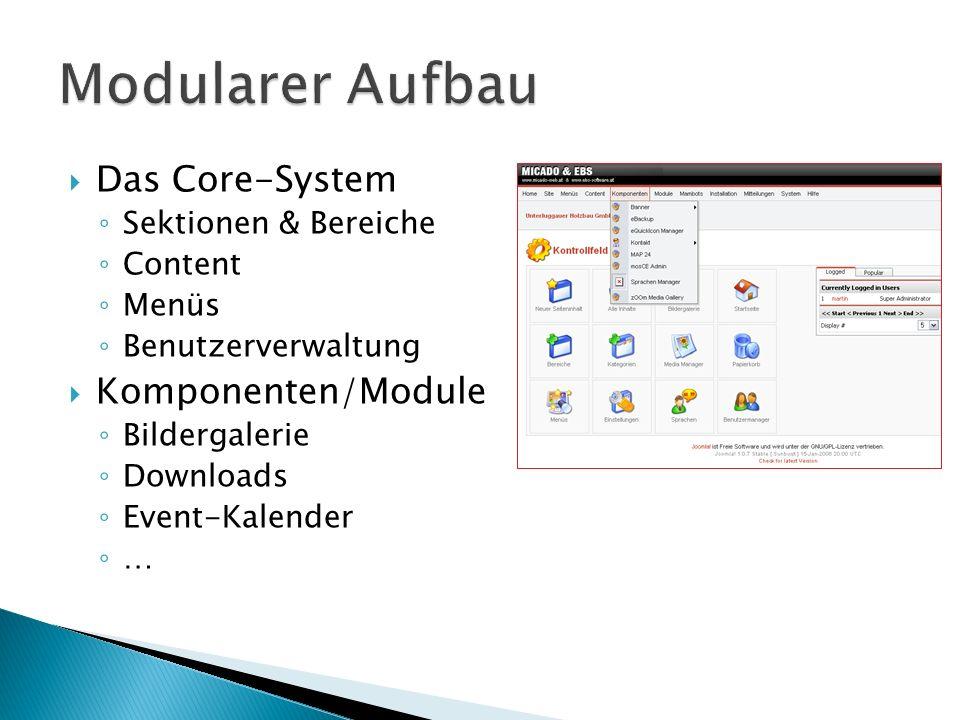 Das Core-System Sektionen & Bereiche Content Menüs Benutzerverwaltung Komponenten/Module Bildergalerie Downloads Event-Kalender …