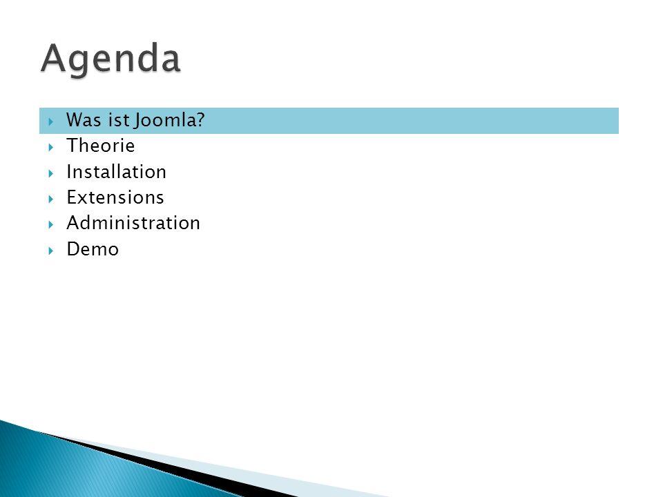 Joomla ist ein modulares content management system (CMS) Es ermöglicht eine Website zu erstellen und online Dienste zur Verfügung zu stellen Joomla ist eine Open Source Lösung, welche frei verfügbar ist Joomla ist das meist verbreitete Open Source CMS, welches aktuell verfügbar ist Joomla ist sehr einfach erweiterbar und es existieren tausende Erweiterungen (meistens kostenlos) Joomla läuft auf PHP / MySQL