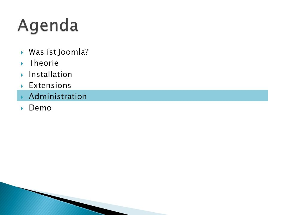 Was ist Joomla Theorie Installation Extensions Administration Demo