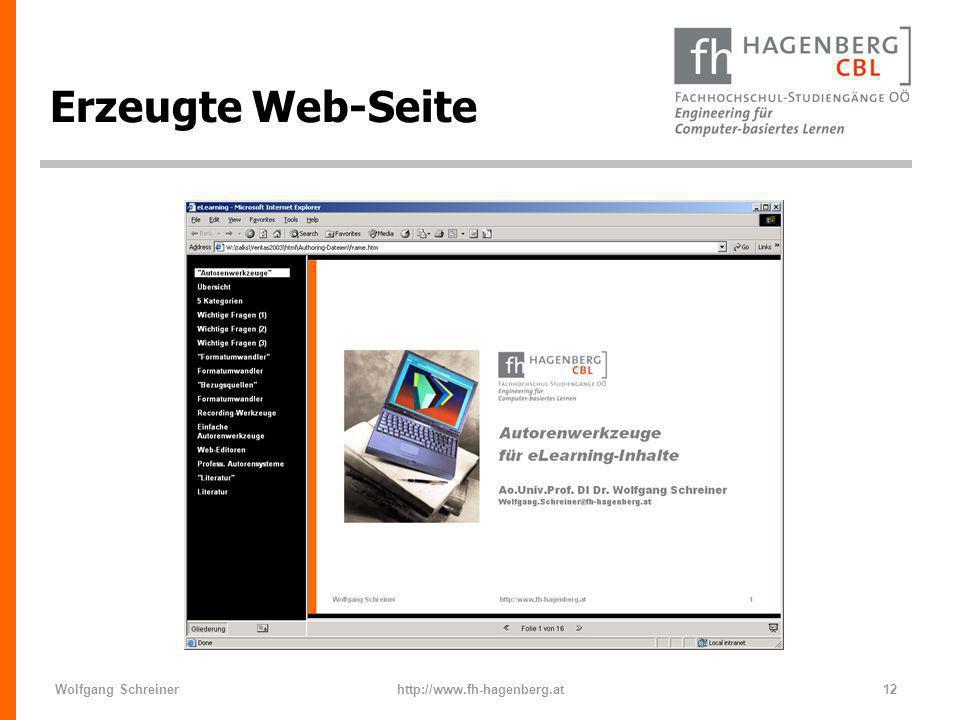Wolfgang Schreinerhttp://www.fh-hagenberg.at12 Erzeugte Web-Seite