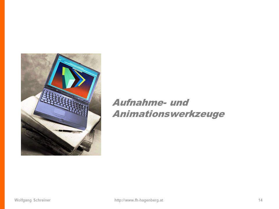 Wolfgang Schreinerhttp://www.fh-hagenberg.at14 Aufnahme- und Animationswerkzeuge