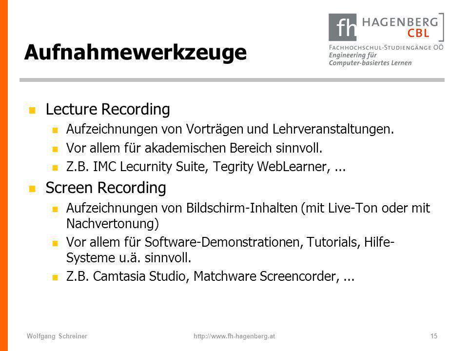 Wolfgang Schreinerhttp://www.fh-hagenberg.at15 Aufnahmewerkzeuge n Lecture Recording n Aufzeichnungen von Vorträgen und Lehrveranstaltungen. n Vor all