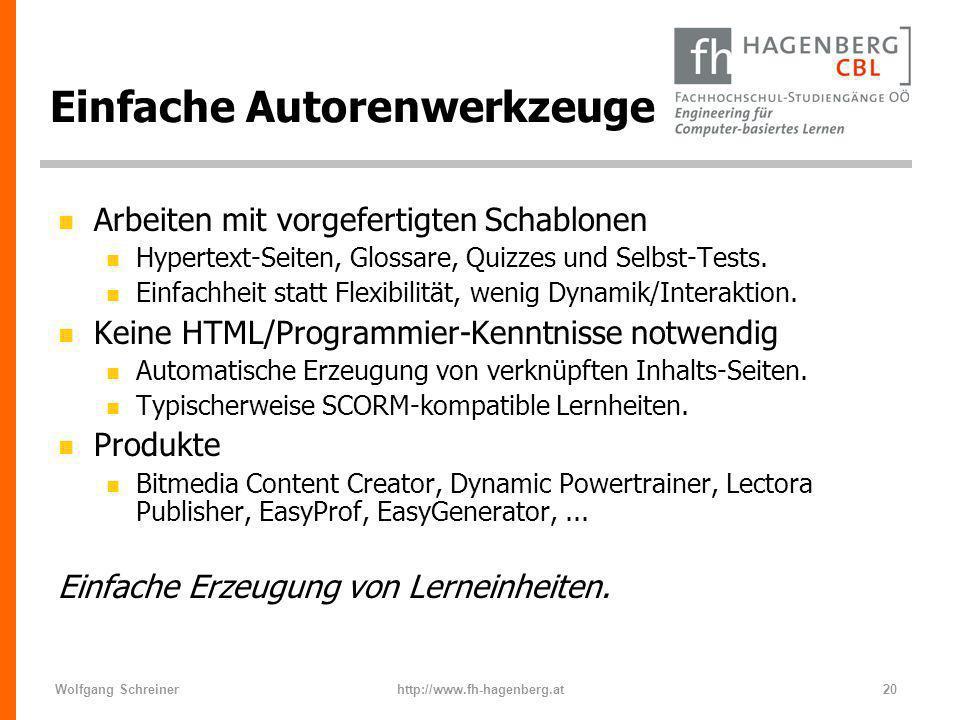 Wolfgang Schreinerhttp://www.fh-hagenberg.at20 Einfache Autorenwerkzeuge n Arbeiten mit vorgefertigten Schablonen n Hypertext-Seiten, Glossare, Quizze