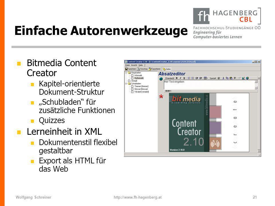 Wolfgang Schreinerhttp://www.fh-hagenberg.at21 Einfache Autorenwerkzeuge n Bitmedia Content Creator n Kapitel-orientierte Dokument-Struktur n Schublad