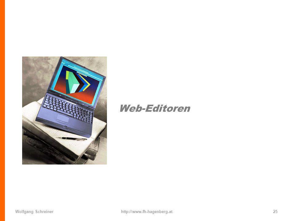 Wolfgang Schreinerhttp://www.fh-hagenberg.at25 Web-Editoren