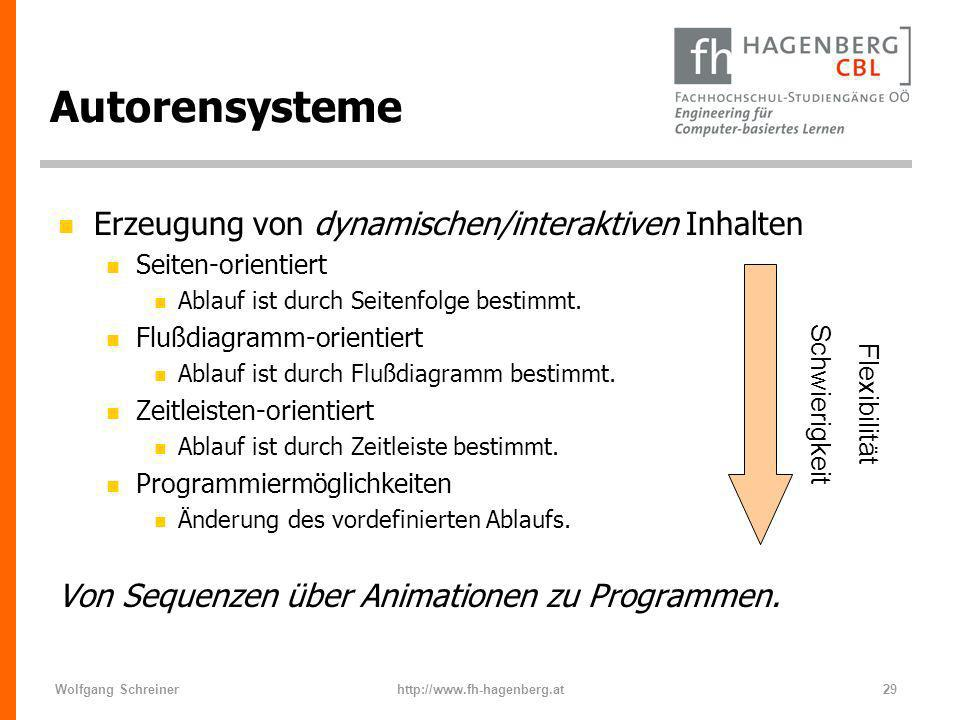 Wolfgang Schreinerhttp://www.fh-hagenberg.at29 Autorensysteme n Erzeugung von dynamischen/interaktiven Inhalten n Seiten-orientiert n Ablauf ist durch