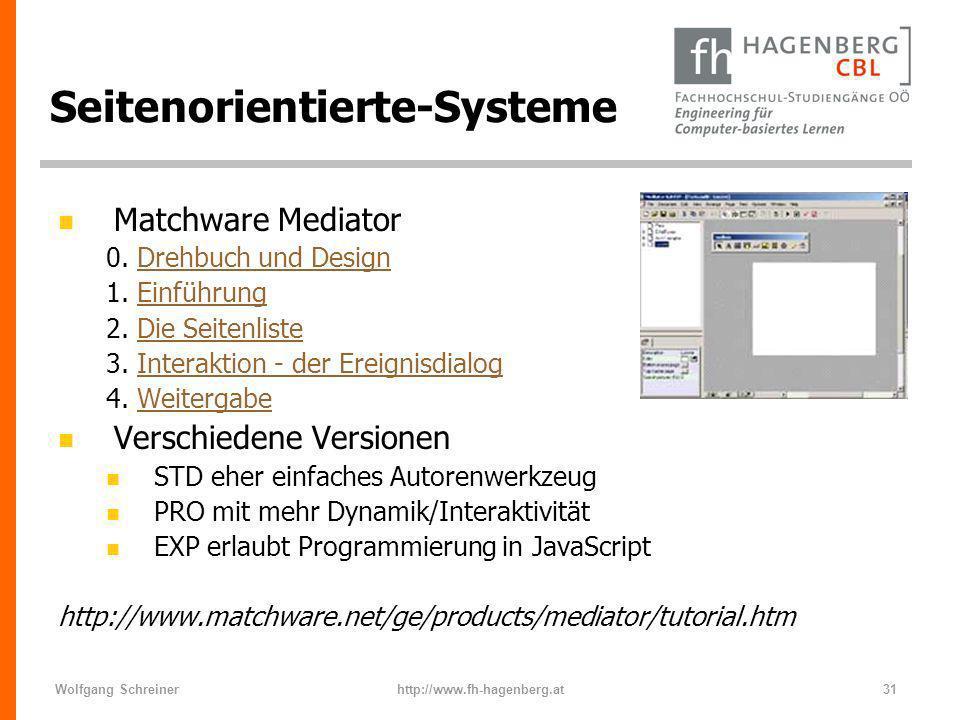 Wolfgang Schreinerhttp://www.fh-hagenberg.at31 Seitenorientierte-Systeme n Matchware Mediator 0. Drehbuch und DesignDrehbuch und Design 1. EinführungE