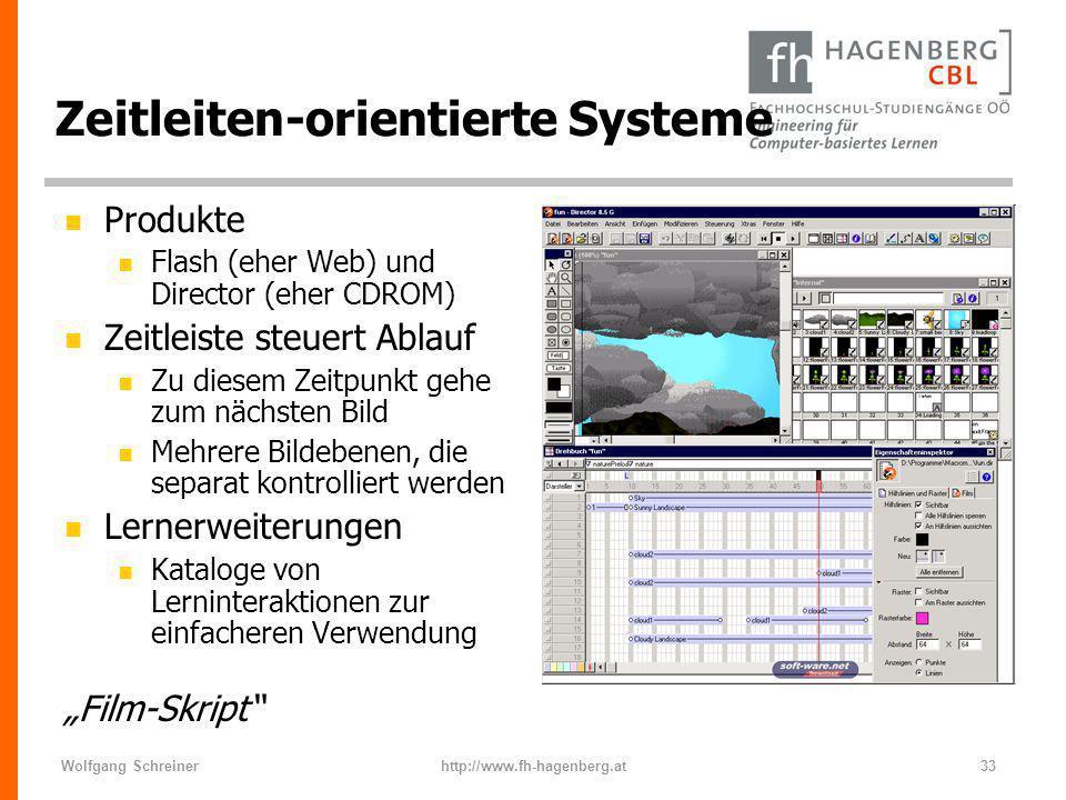 Wolfgang Schreinerhttp://www.fh-hagenberg.at33 Zeitleiten-orientierte Systeme n Produkte n Flash (eher Web) und Director (eher CDROM) n Zeitleiste ste