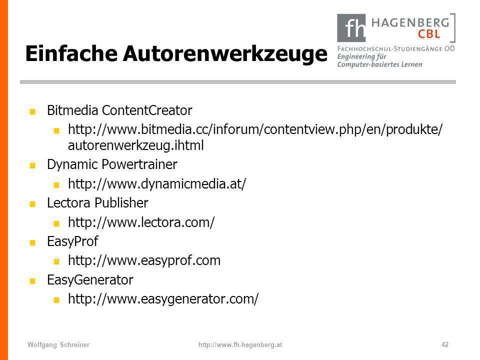 Wolfgang Schreinerhttp://www.fh-hagenberg.at42 Einfache Autorenwerkzeuge n Bitmedia ContentCreator n http://www.bitmedia.cc/inforum/contentview.php/en