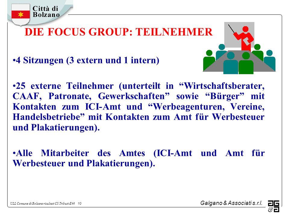 Galgano & Associati s.r.l. ULL Comune di Bolzano risultati CS Tributi-E44 10 DIE FOCUS GROUP: TEILNEHMER 4 Sitzungen (3 extern und 1 intern) 25 extern