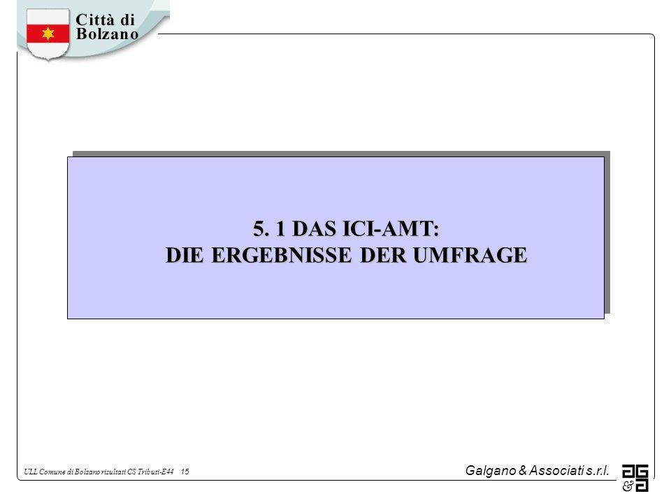 Galgano & Associati s.r.l. ULL Comune di Bolzano risultati CS Tributi-E44 15 5. 1 DAS ICI-AMT: DIE ERGEBNISSE DER UMFRAGE