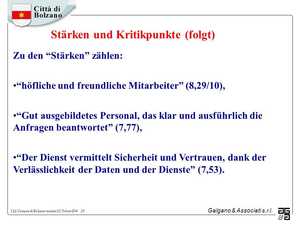 Galgano & Associati s.r.l. ULL Comune di Bolzano risultati CS Tributi-E44 23 Zu den Stärken zählen: höfliche und freundliche Mitarbeiter (8,29/10), Gu