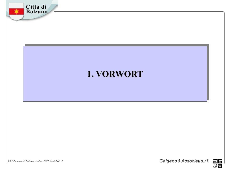 Galgano & Associati s.r.l. ULL Comune di Bolzano risultati CS Tributi-E44 3 1. VORWORT