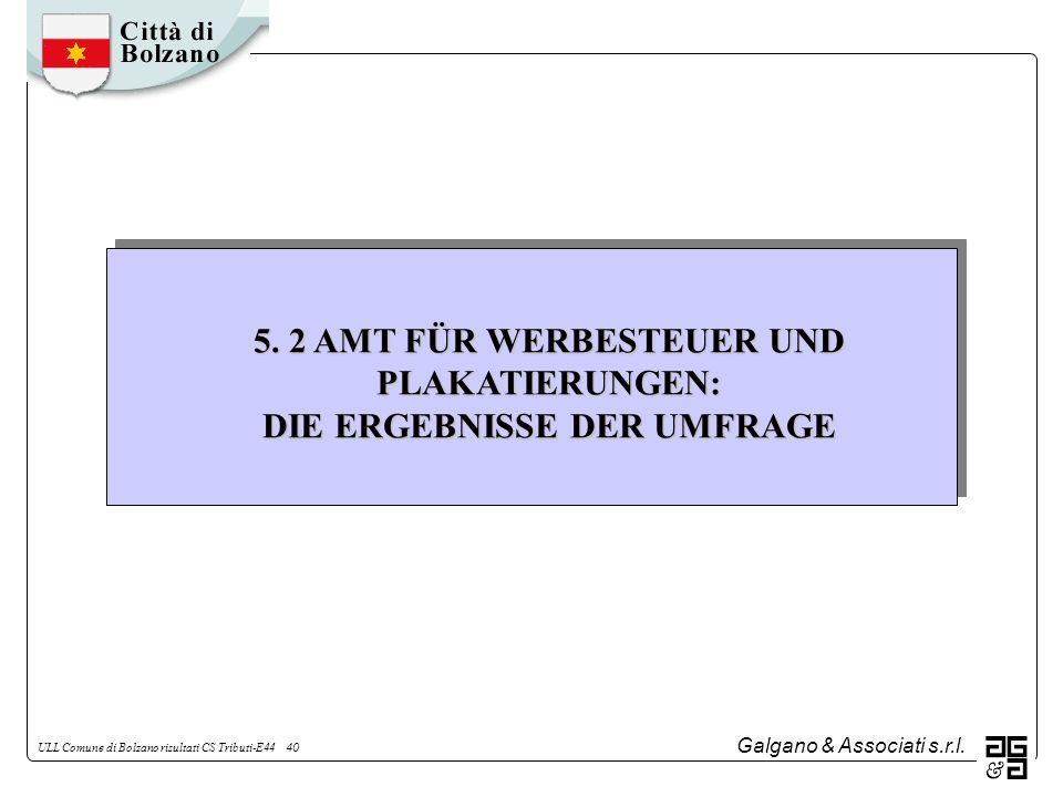 Galgano & Associati s.r.l. ULL Comune di Bolzano risultati CS Tributi-E44 40 5. 2 AMT FÜR WERBESTEUER UND PLAKATIERUNGEN: DIE ERGEBNISSE DER UMFRAGE