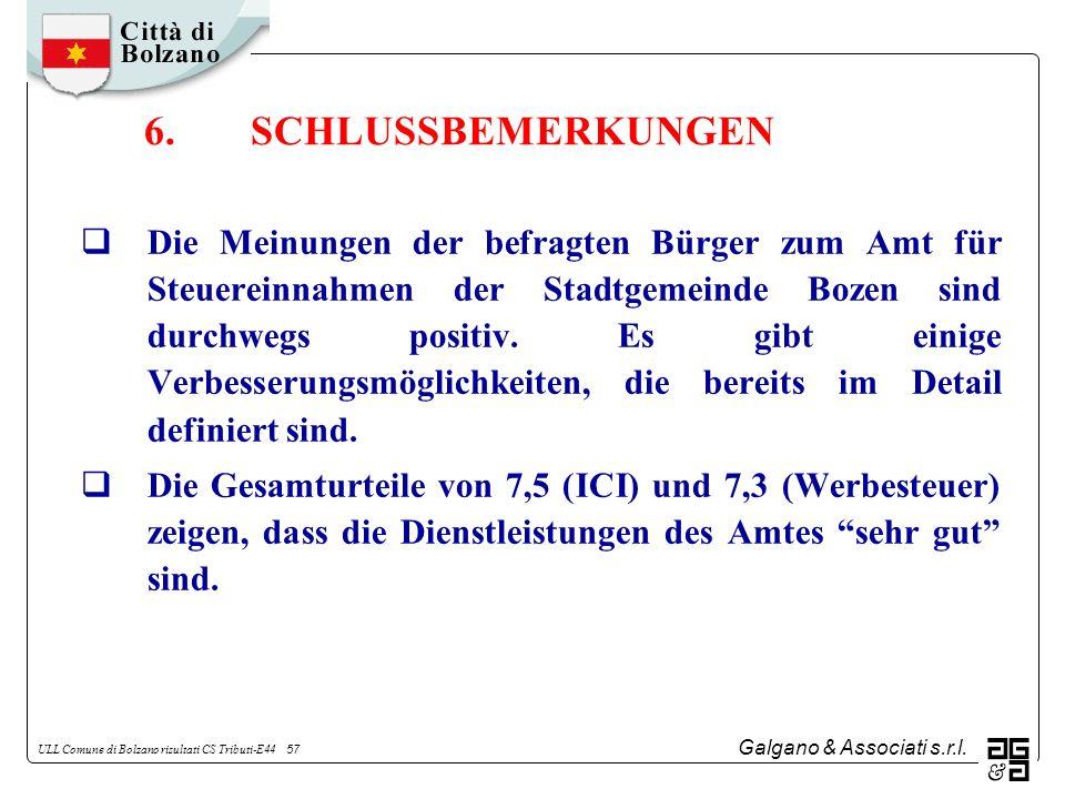 Galgano & Associati s.r.l. ULL Comune di Bolzano risultati CS Tributi-E44 57 Die Meinungen der befragten Bürger zum Amt für Steuereinnahmen der Stadtg