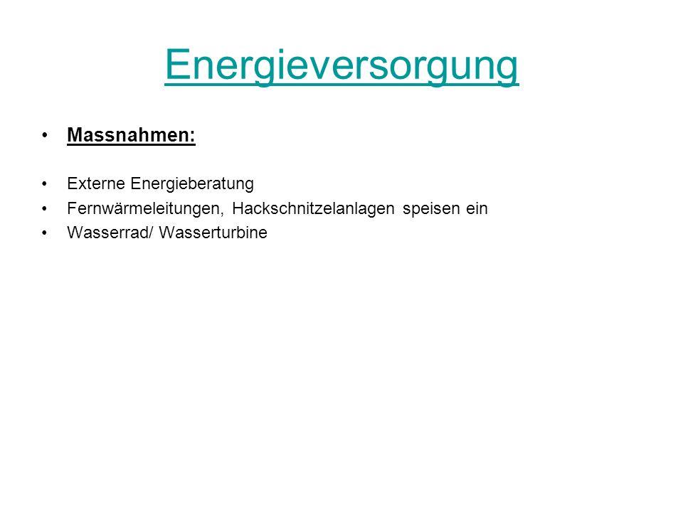 Energieversorgung Massnahmen: Externe Energieberatung Fernwärmeleitungen, Hackschnitzelanlagen speisen ein Wasserrad/ Wasserturbine