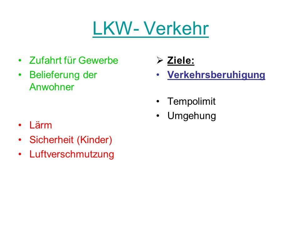 LKW- Verkehr Zufahrt für Gewerbe Belieferung der Anwohner Lärm Sicherheit (Kinder) Luftverschmutzung Ziele: Verkehrsberuhigung Tempolimit Umgehung