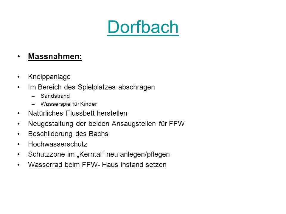 Dorfbach Massnahmen: Kneippanlage Im Bereich des Spielplatzes abschrägen –Sandstrand –Wasserspiel für Kinder Natürliches Flussbett herstellen Neugesta