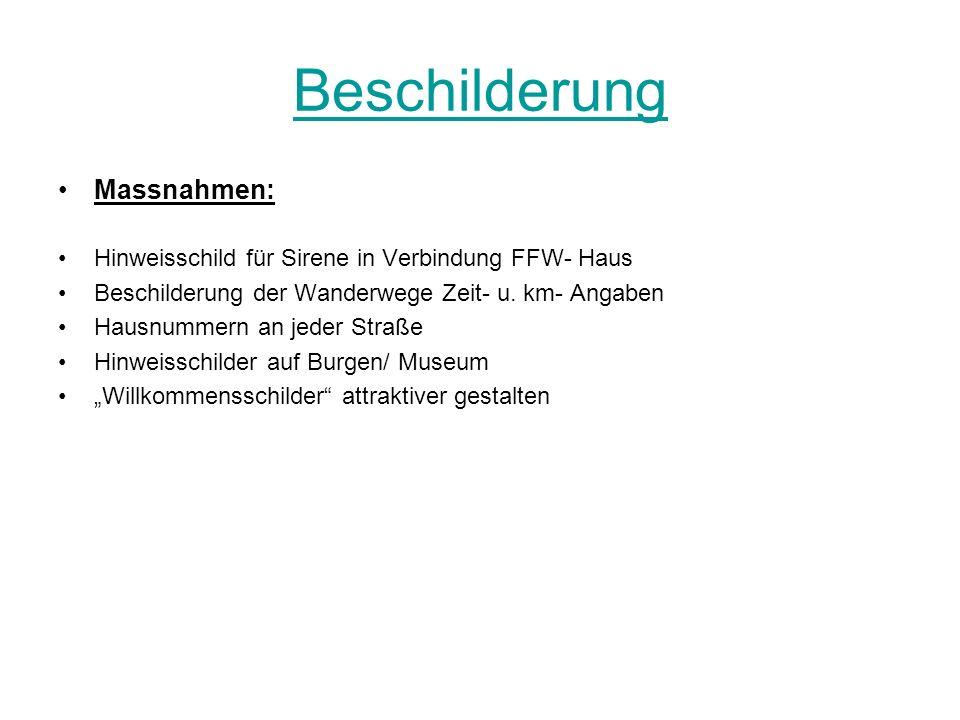 Beschilderung Massnahmen: Hinweisschild für Sirene in Verbindung FFW- Haus Beschilderung der Wanderwege Zeit- u. km- Angaben Hausnummern an jeder Stra