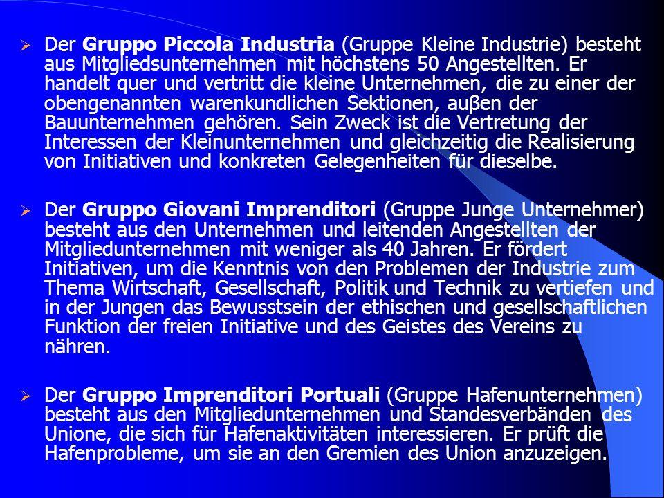 Der Gruppo Piccola Industria (Gruppe Kleine Industrie) besteht aus Mitgliedsunternehmen mit höchstens 50 Angestellten. Er handelt quer und vertritt di