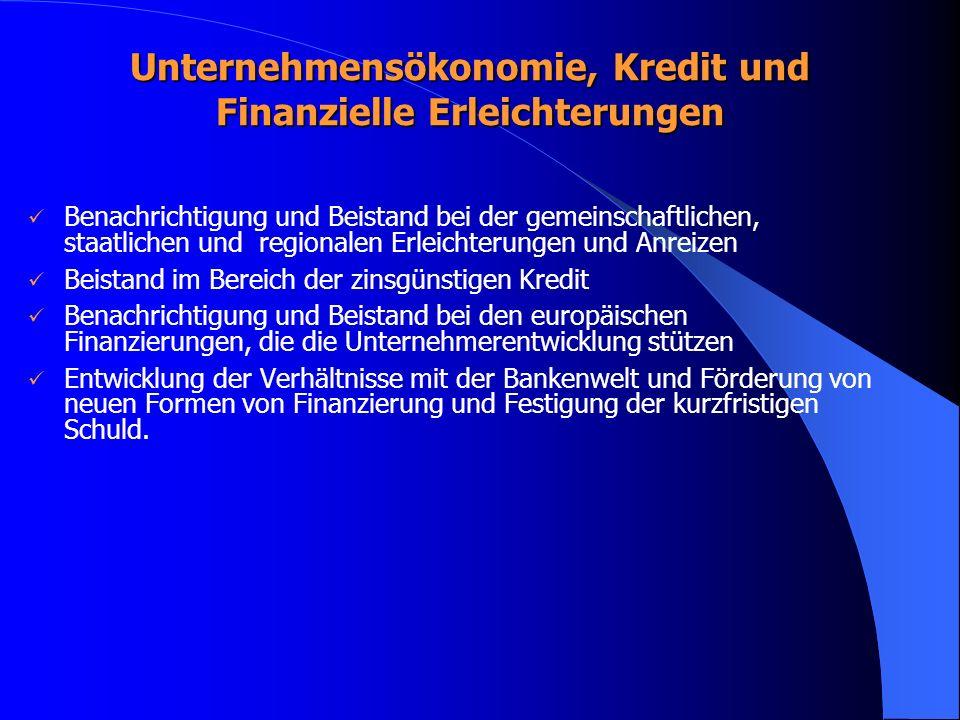 Unternehmensökonomie, Kredit und Finanzielle Erleichterungen Benachrichtigung und Beistand bei der gemeinschaftlichen, staatlichen und regionalen Erleichterungen und Anreizen Beistand im Bereich der zinsgünstigen Kredit Benachrichtigung und Beistand bei den europäischen Finanzierungen, die die Unternehmerentwicklung stützen Entwicklung der Verhältnisse mit der Bankenwelt und Förderung von neuen Formen von Finanzierung und Festigung der kurzfristigen Schuld.