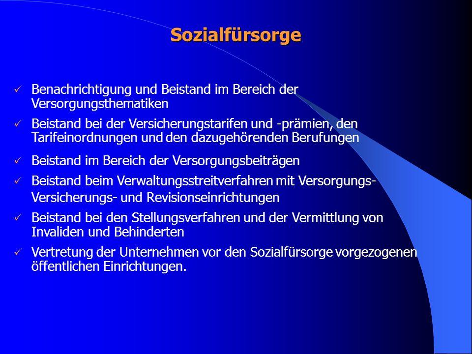 Sozialfürsorge Benachrichtigung und Beistand im Bereich der Versorgungsthematiken Beistand bei der Versicherungstarifen und -prämien, den Tarifeinordn
